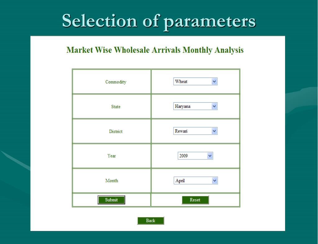 Selection of parameters