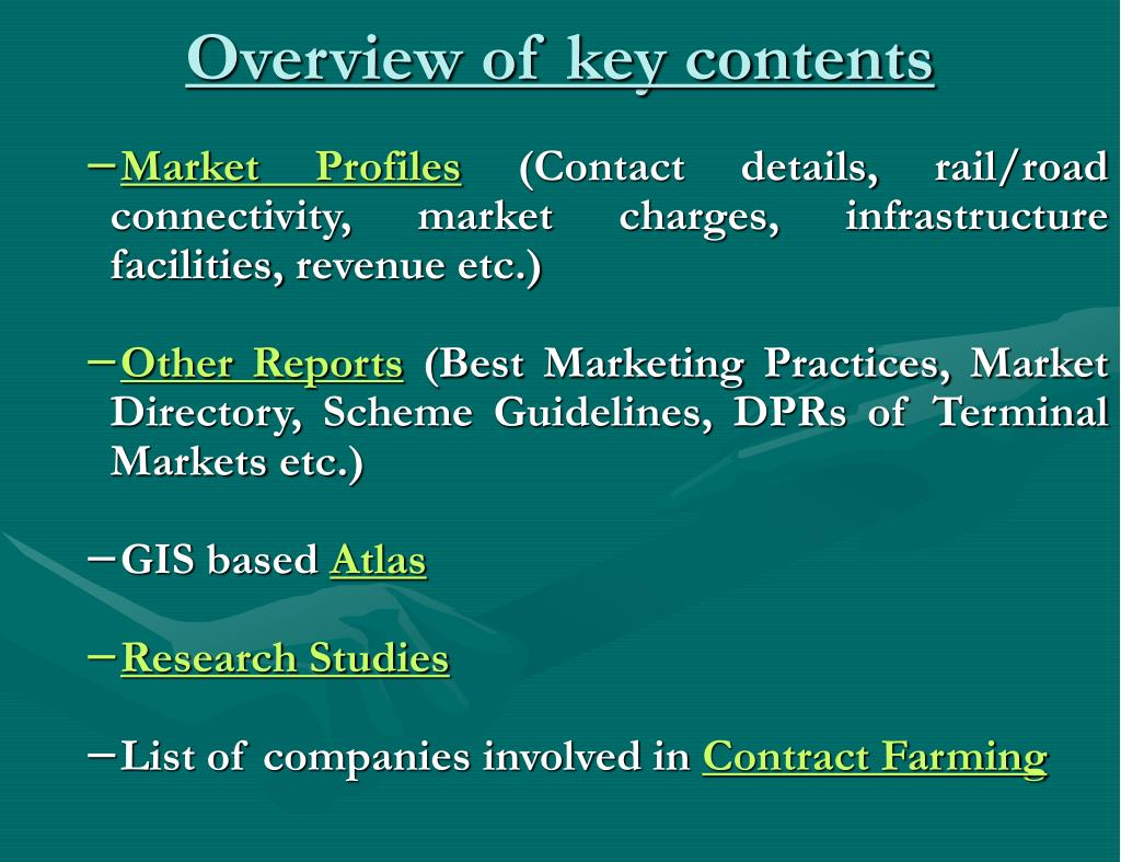 Overview of key contents