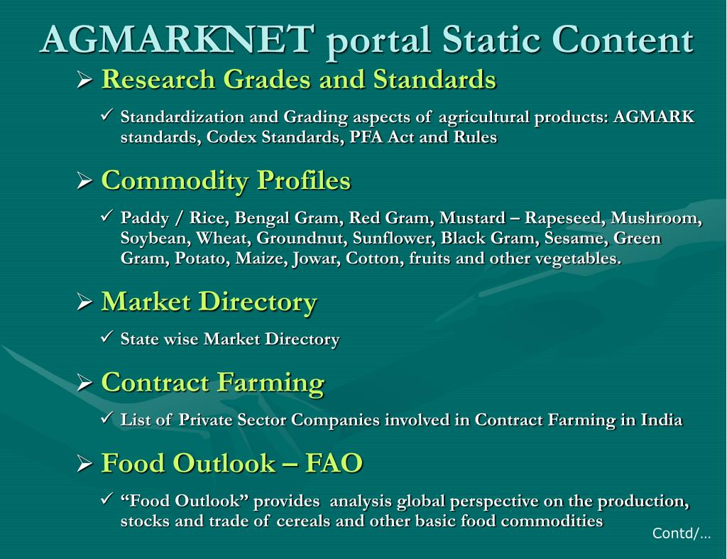 AGMARKNET portal Static Content