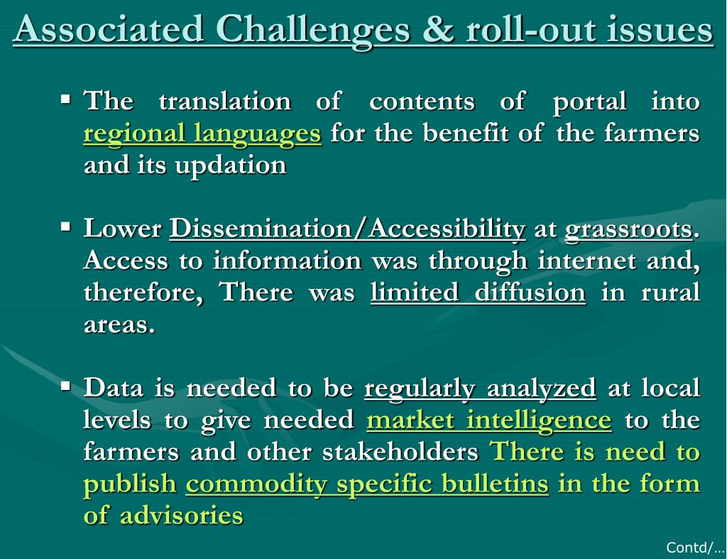 Associated Challenges & roll-out issues