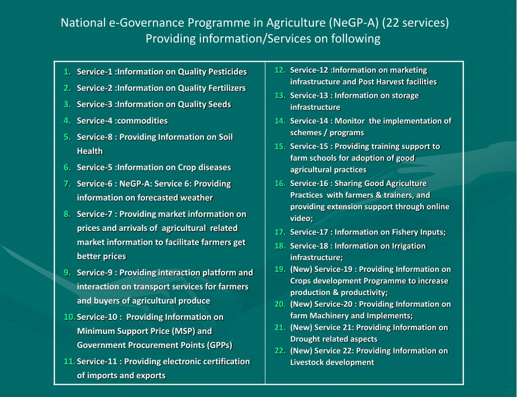 National e-Governance Programme in Agriculture (NeGP-A) (22 services)      Providing information/Services on following
