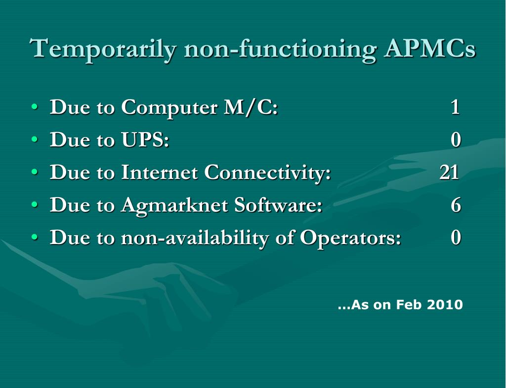 Temporarily non-functioning APMCs