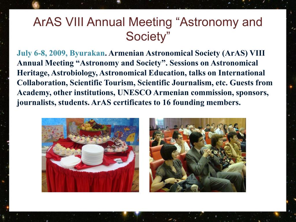 "ArAS VIII Annual Meeting ""Astronomy and Society"""