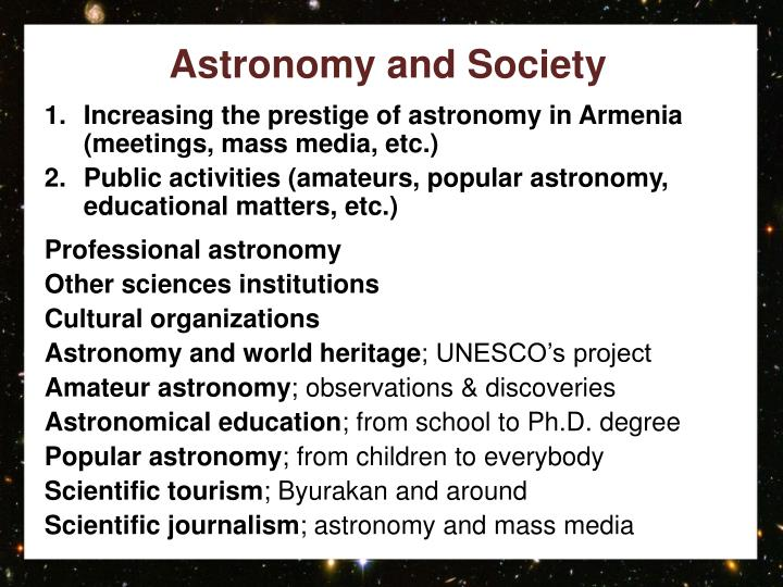 Astronomy and society