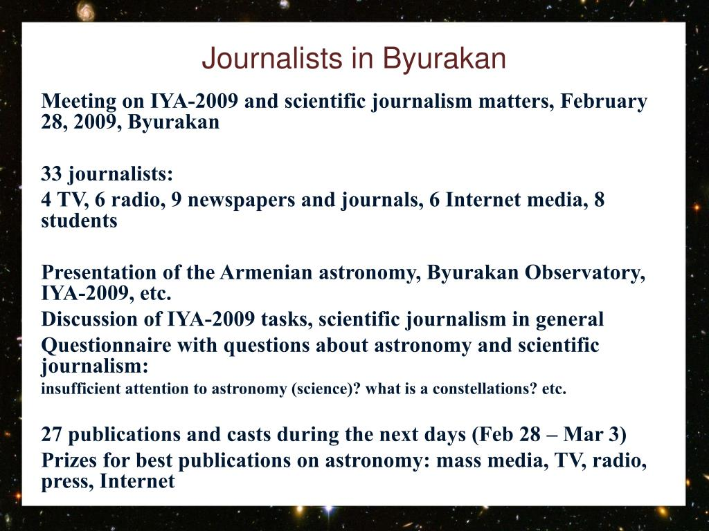 Journalists in Byurakan