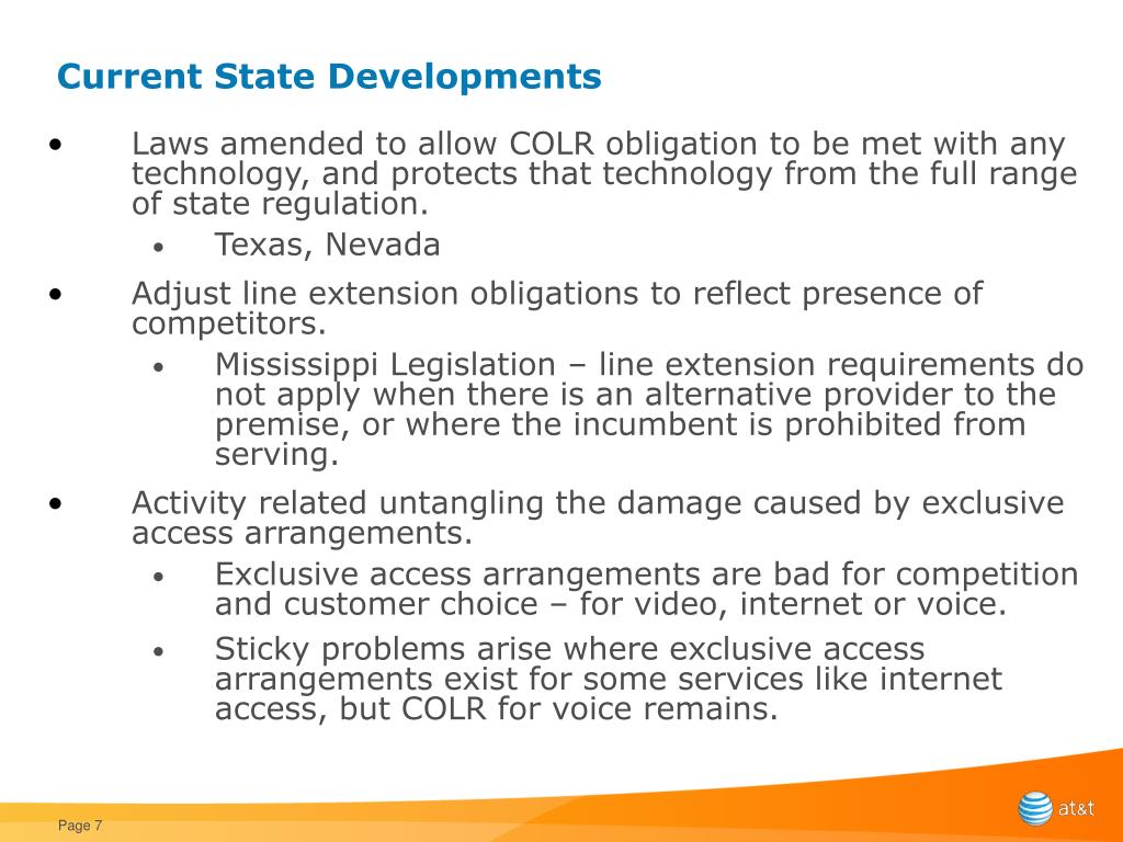 Current State Developments