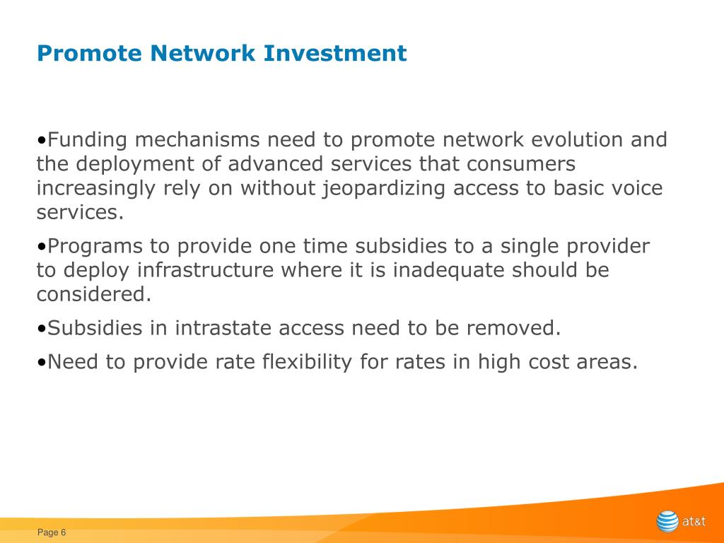 Promote Network Investment