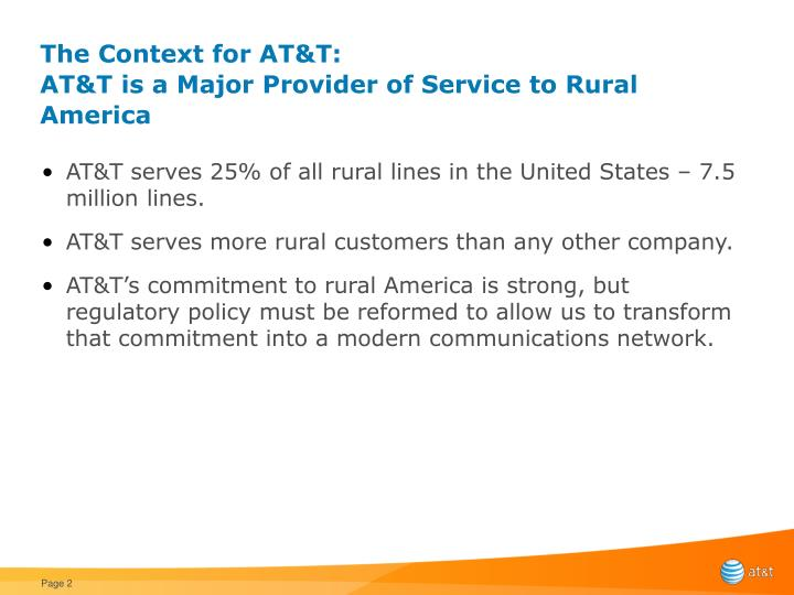 The context for at t at t is a major provider of service to rural america