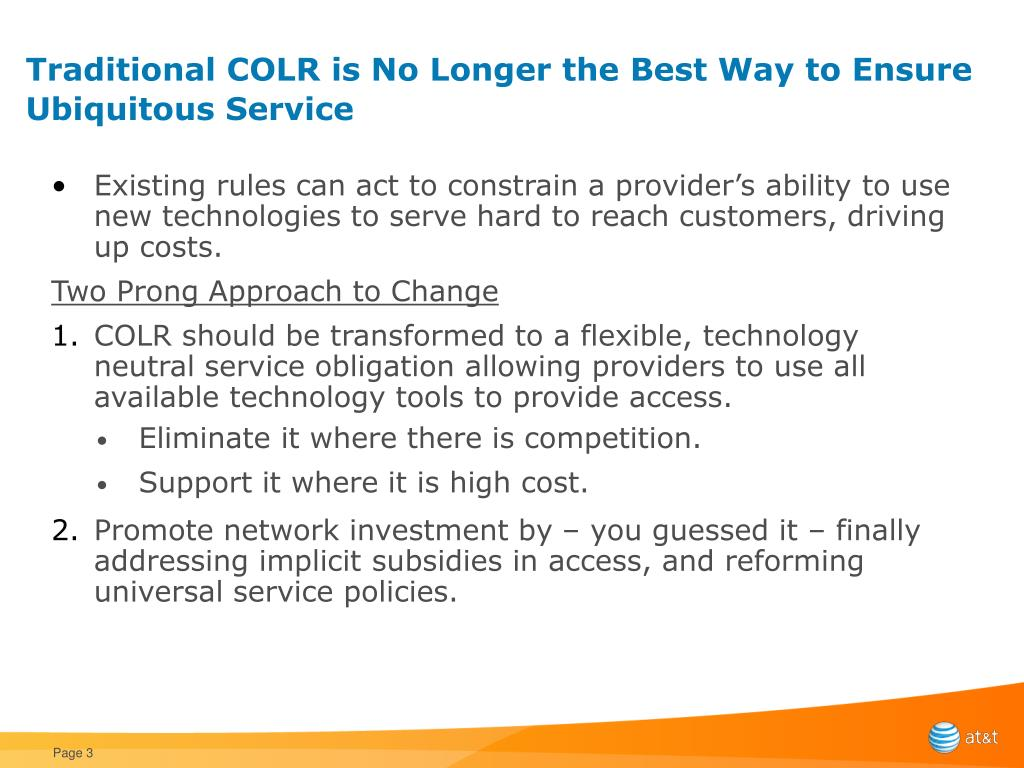 Traditional COLR is No Longer the Best Way to Ensure Ubiquitous Service