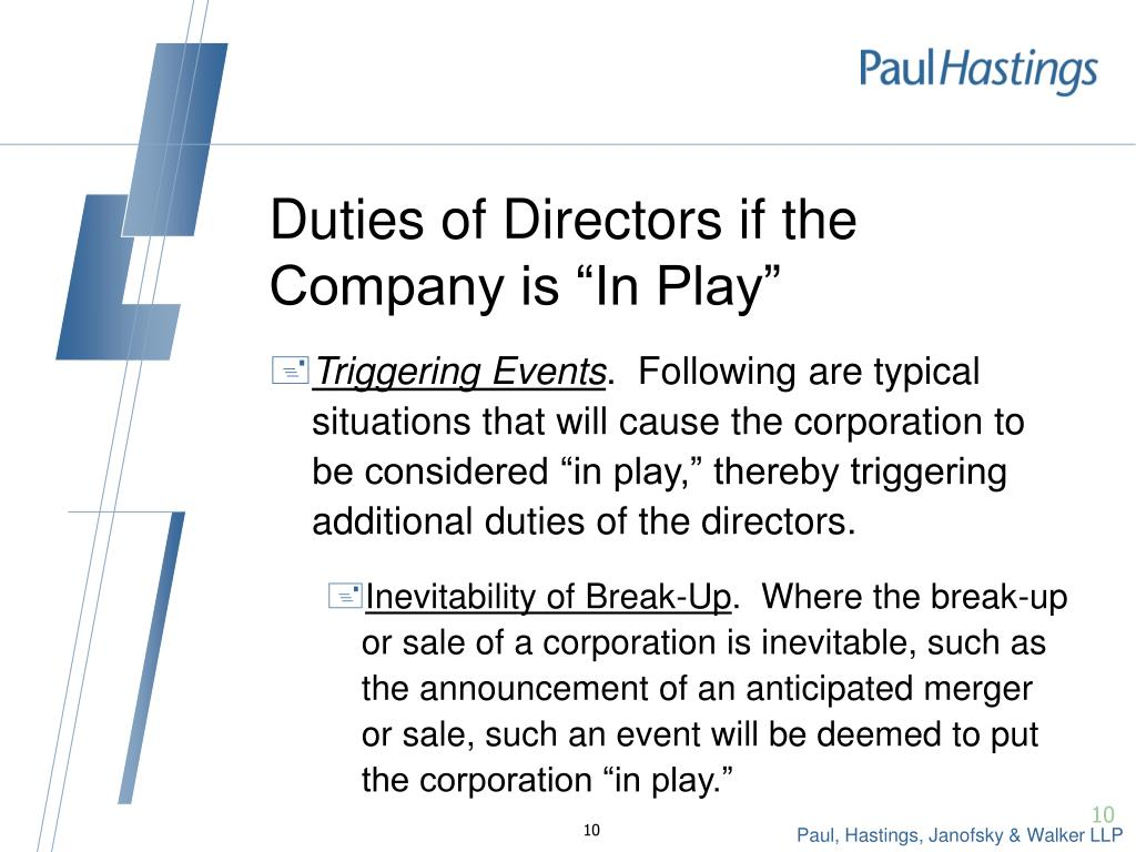 "Duties of Directors if the Company is ""In Play"""