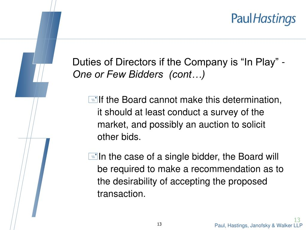 "Duties of Directors if the Company is ""In Play"" -"