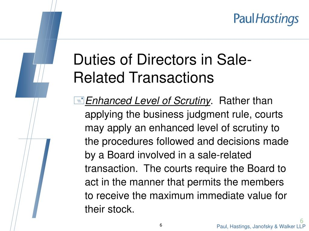 Duties of Directors in Sale-Related Transactions
