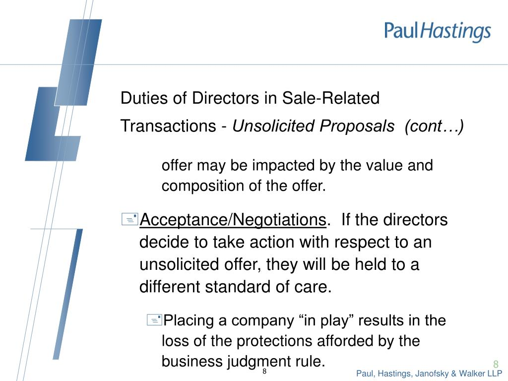 Duties of Directors in Sale-Related Transactions -