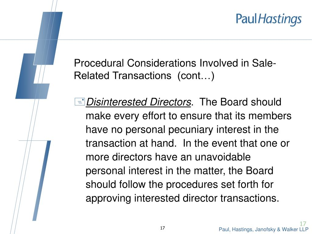 Procedural Considerations Involved in Sale-Related Transactions  (cont…)
