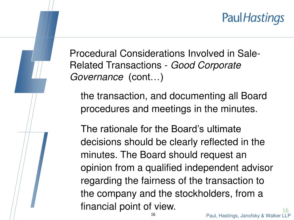 Procedural Considerations Involved in Sale-Related Transactions -