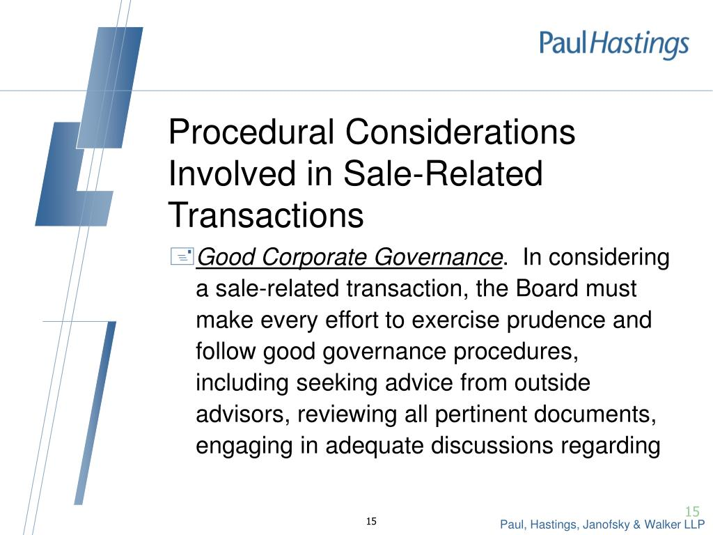 Procedural Considerations Involved in Sale-Related Transactions