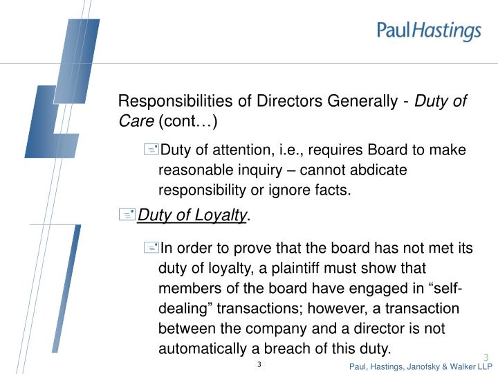 Responsibilities of directors generally duty of care cont