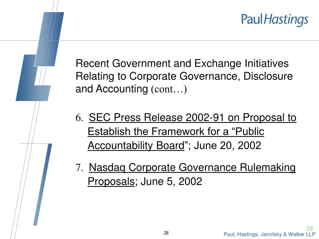 Recent Government and Exchange Initiatives Relating to Corporate Governance, Disclosure and Accounting