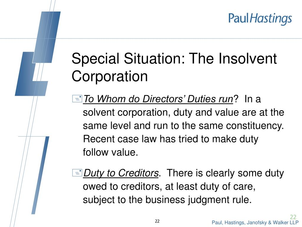 Special Situation: The Insolvent Corporation
