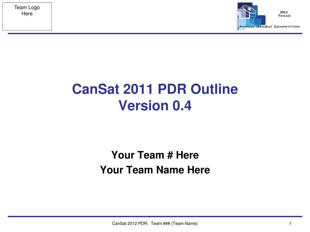 CanSat 2011 PDR Outline