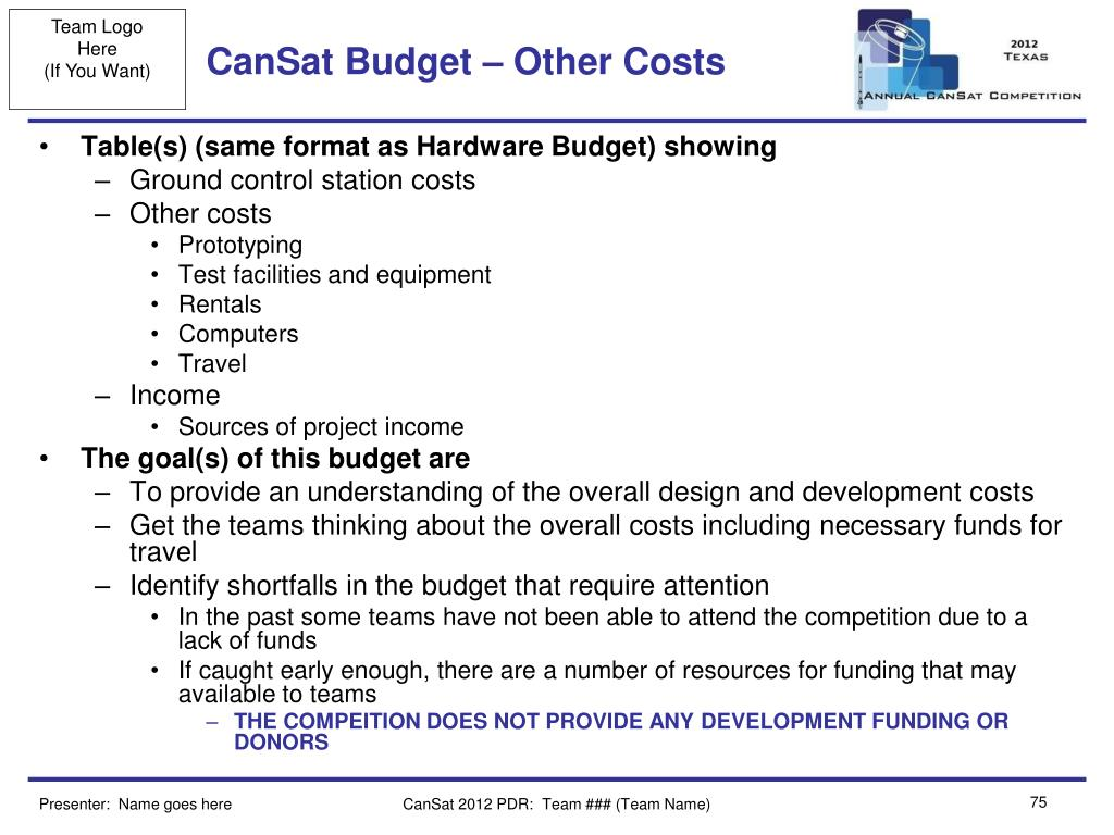 CanSat Budget – Other Costs