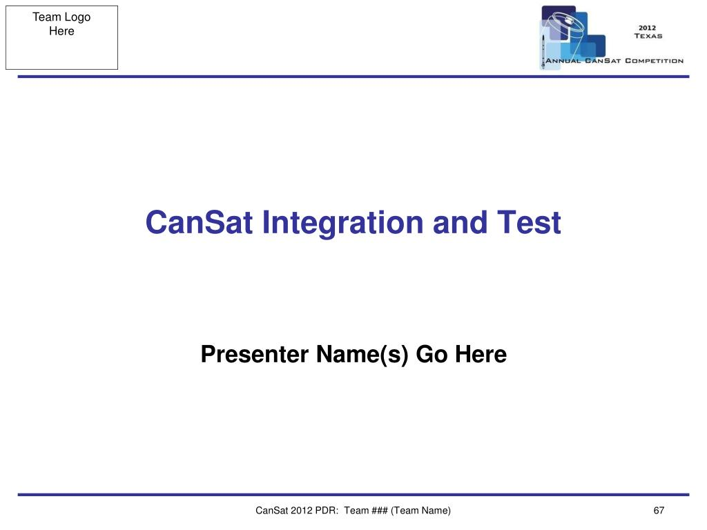 CanSat Integration and Test