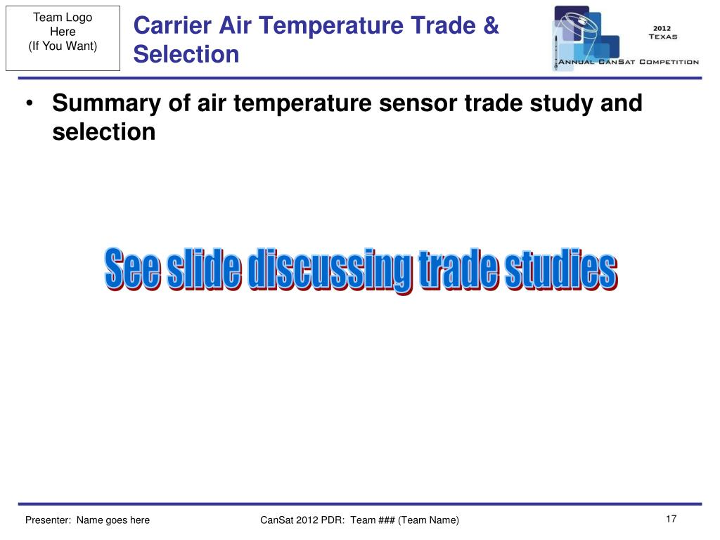 Carrier Air Temperature Trade & Selection