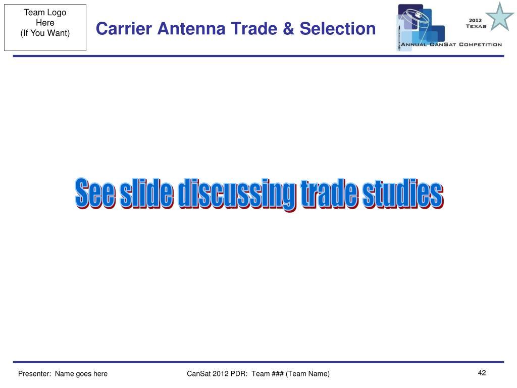 Carrier Antenna Trade & Selection