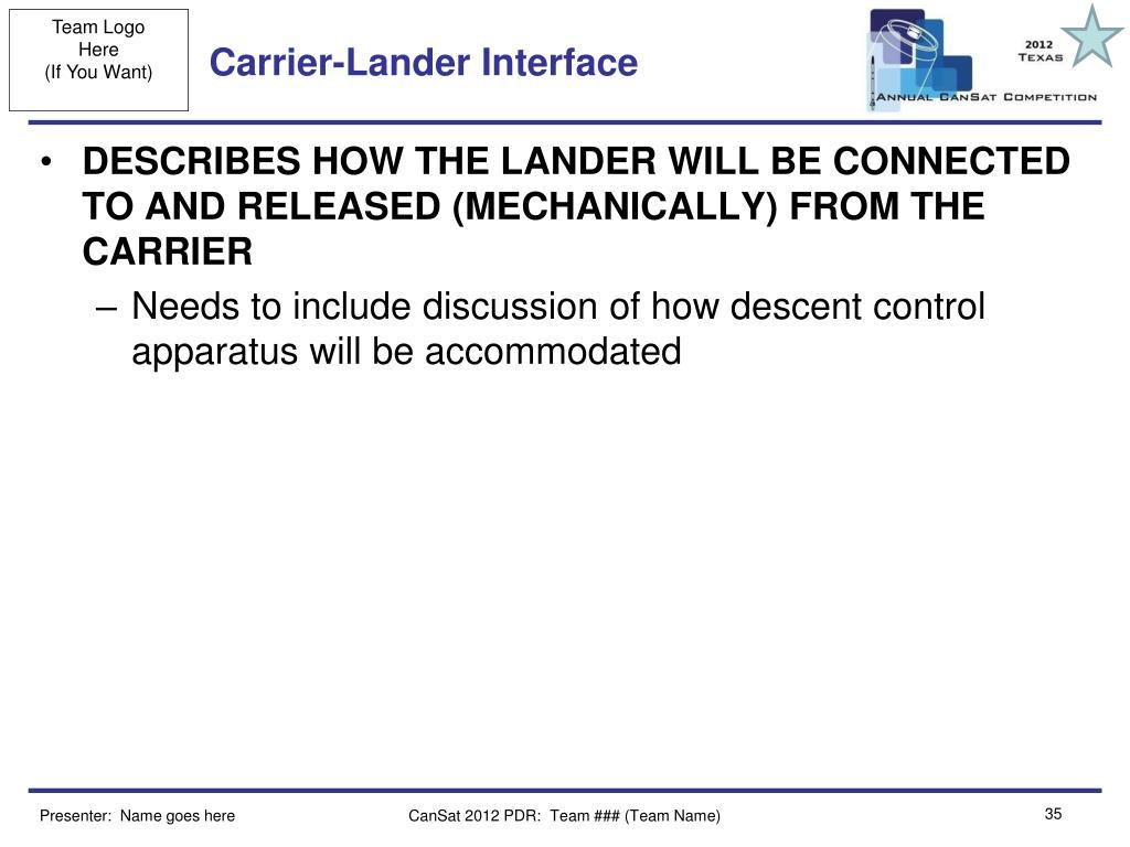 Carrier-Lander Interface