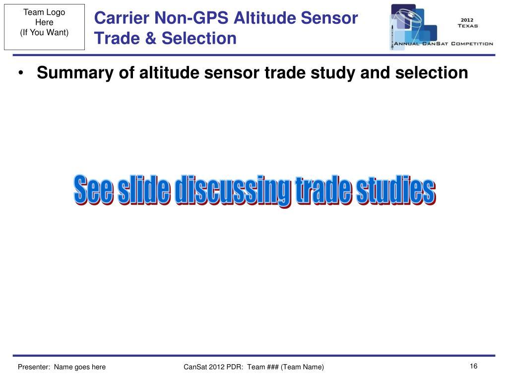 Carrier Non-GPS Altitude Sensor