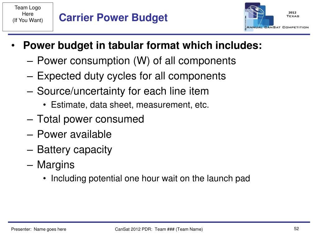 Carrier Power Budget