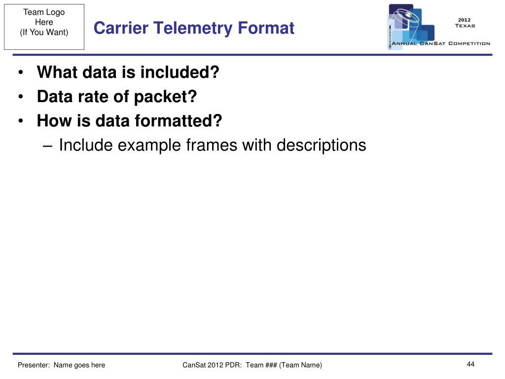 Carrier Telemetry Format