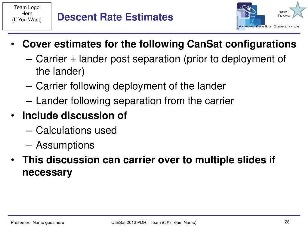 Descent Rate Estimates