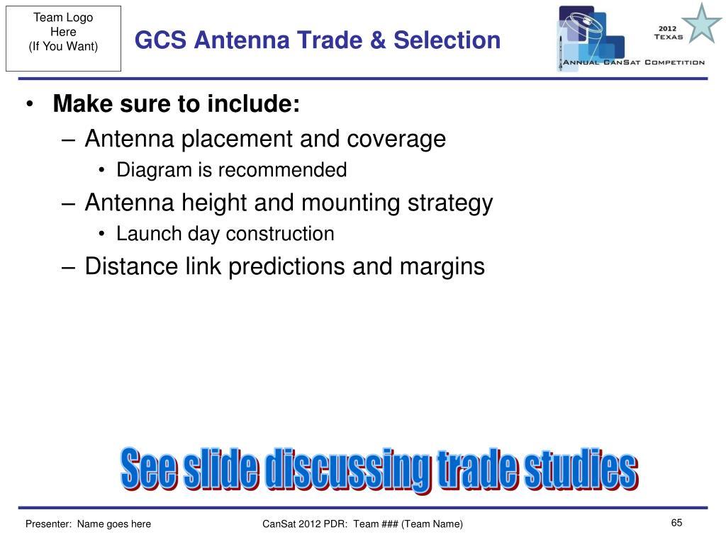 GCS Antenna Trade & Selection