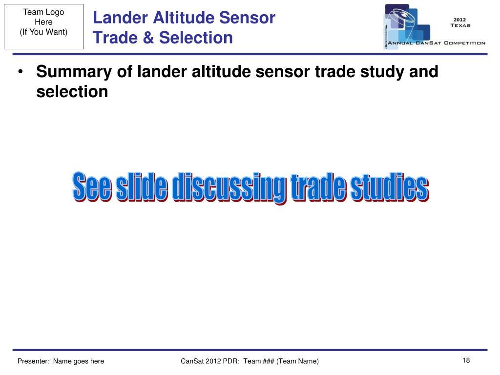 Lander Altitude Sensor