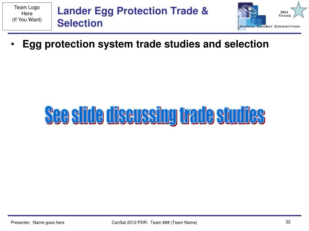 Lander Egg Protection Trade & Selection