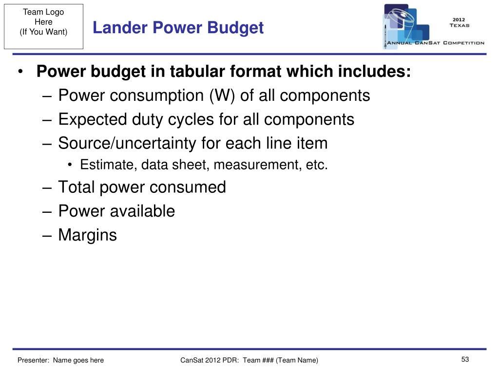 Lander Power Budget