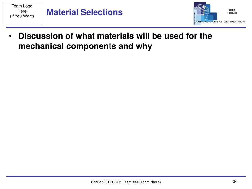 Material Selections