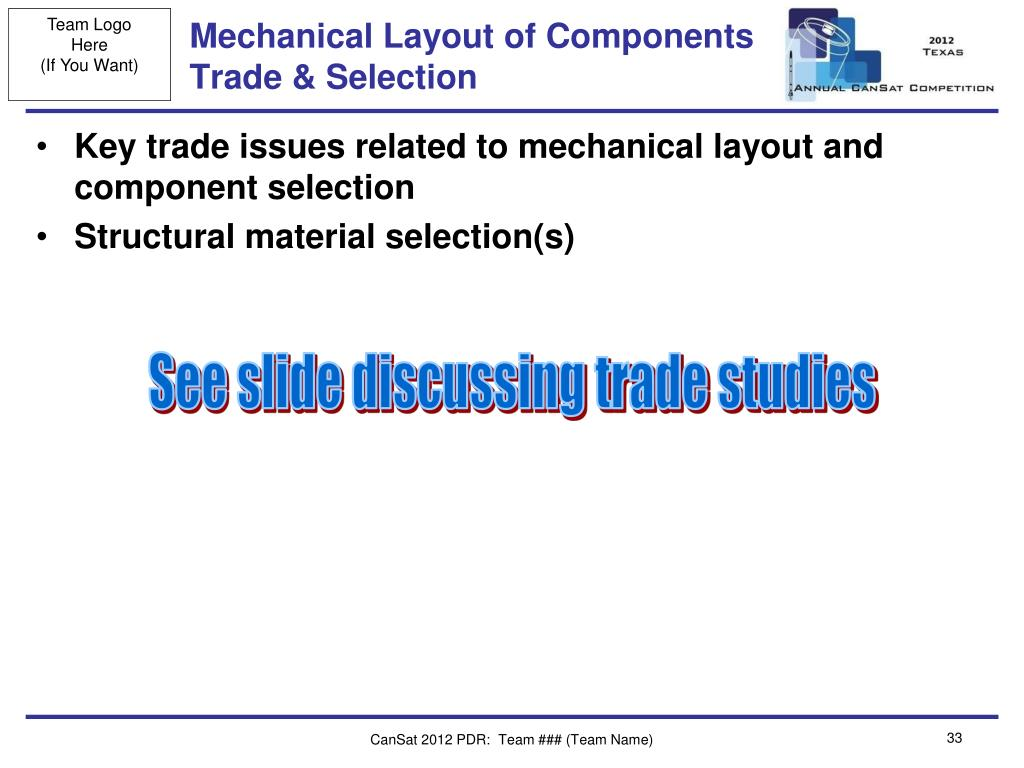 Mechanical Layout of Components Trade & Selection