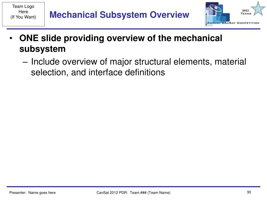 Mechanical Subsystem Overview