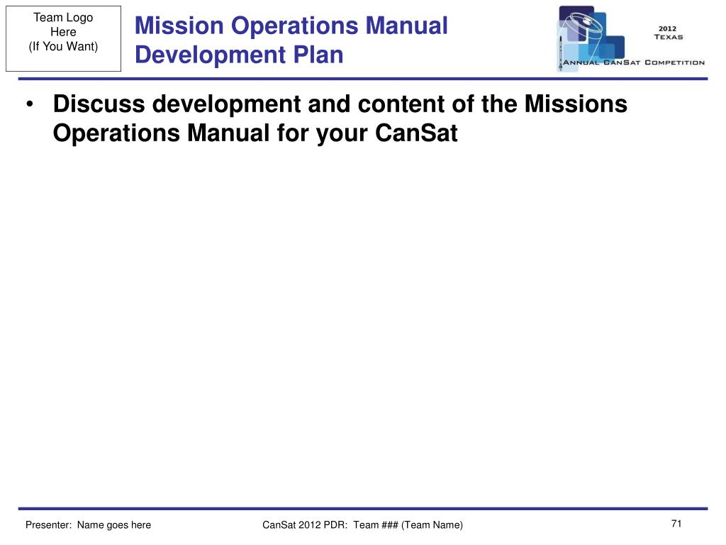 Mission Operations Manual Development Plan