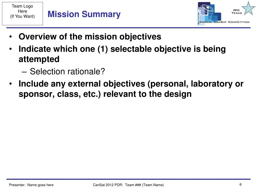 Mission Summary