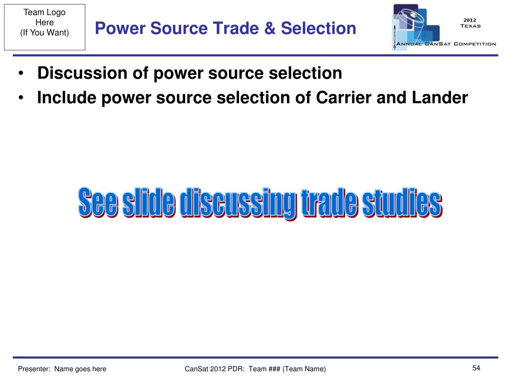 Power Source Trade & Selection