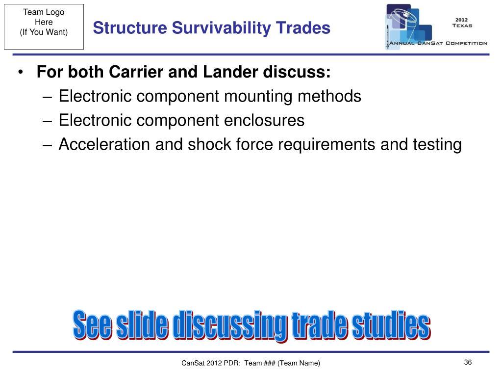 Structure Survivability Trades