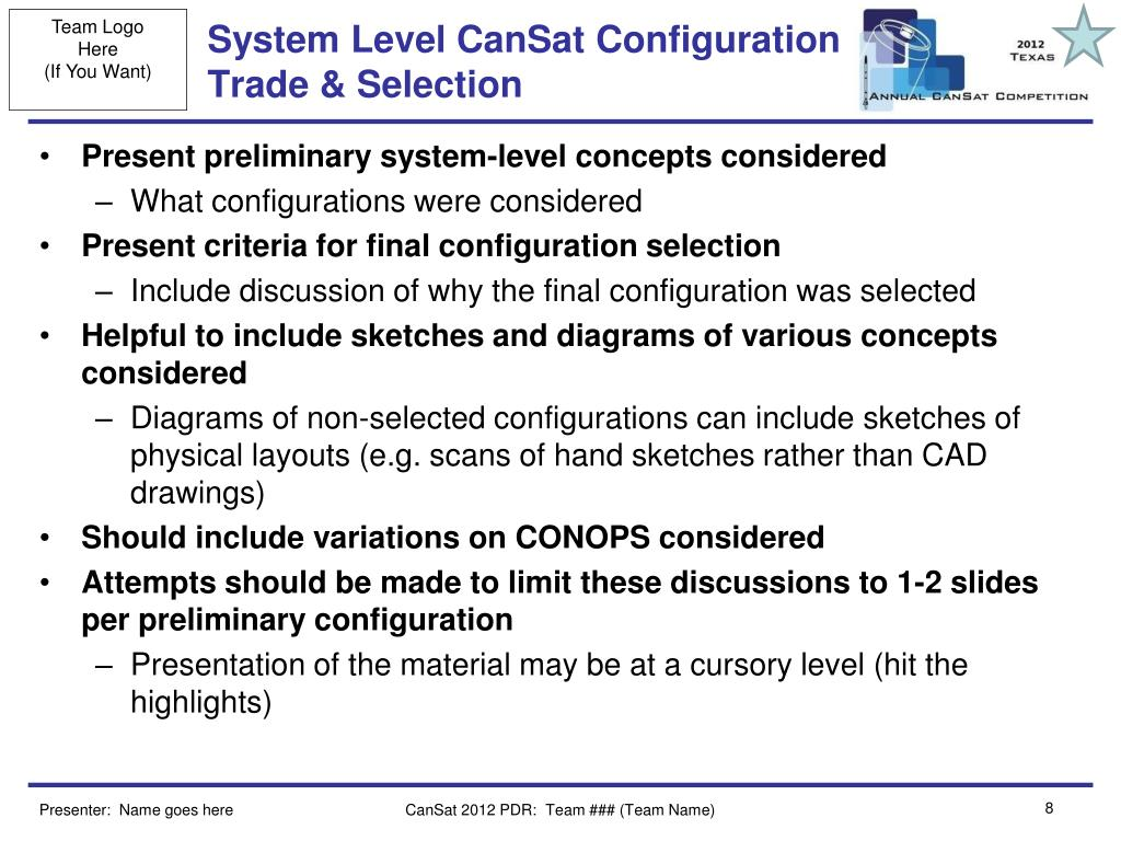 System Level CanSat Configuration Trade & Selection