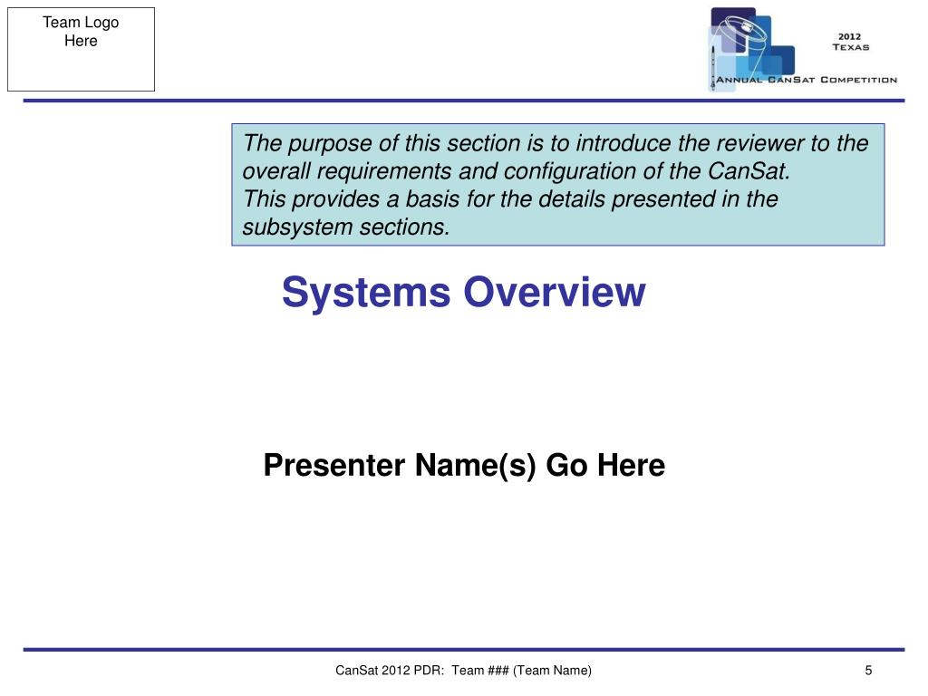 The purpose of this section is to introduce the reviewer to the