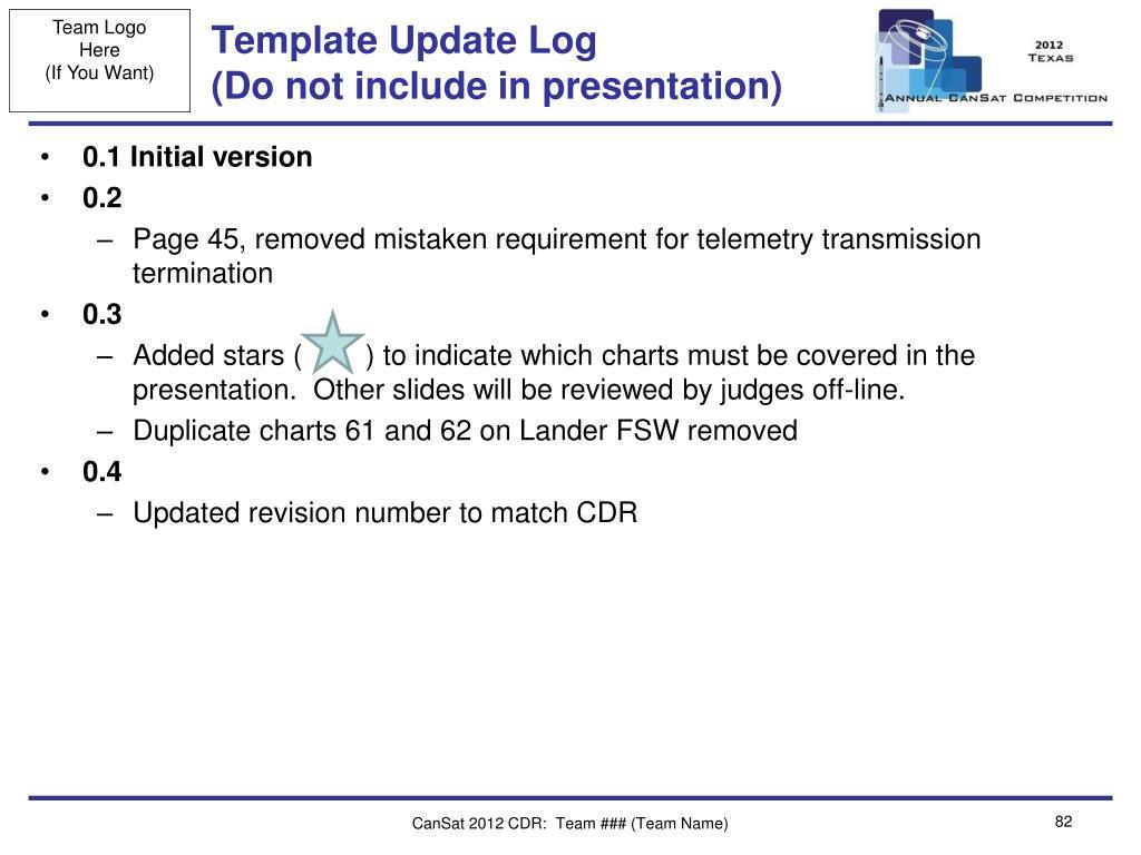 Template Update Log