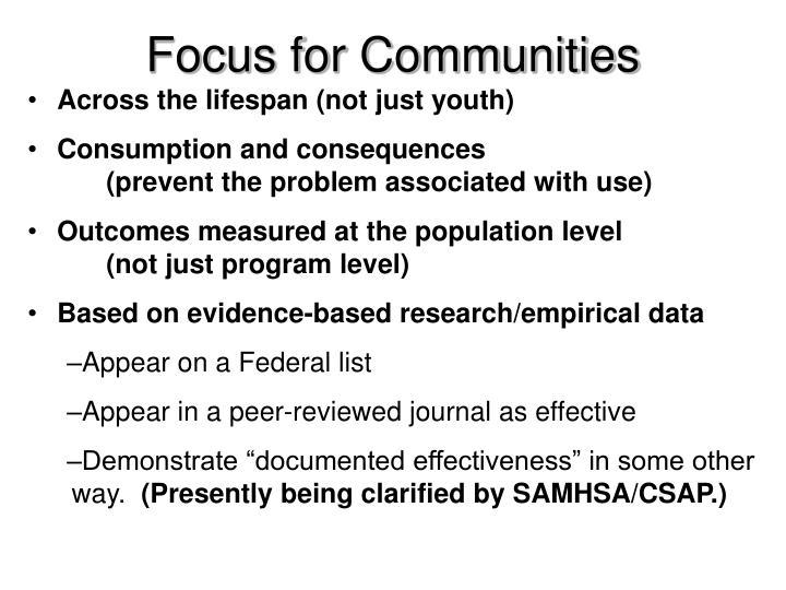 Focus for Communities