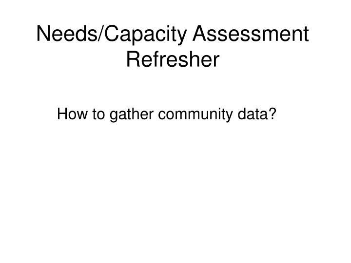 Needs/Capacity Assessment Refresher
