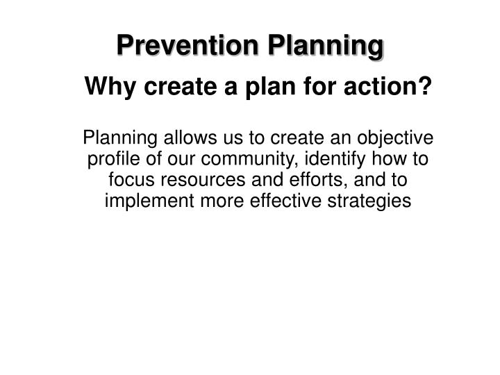 Prevention Planning